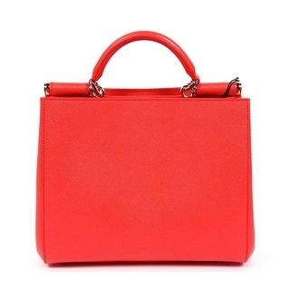 Dolce & Gabbana Dauphine Coral Leather Satchel Bag - Coral - 9 x 10 x 5