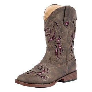 Roper Western Boots Girls Bling Pull On Brown Pink