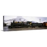 Premium Thick-Wrap Canvas entitled Steam train on railroad track, Durango and Silverton Narrow Gauge Railroad, Colorado