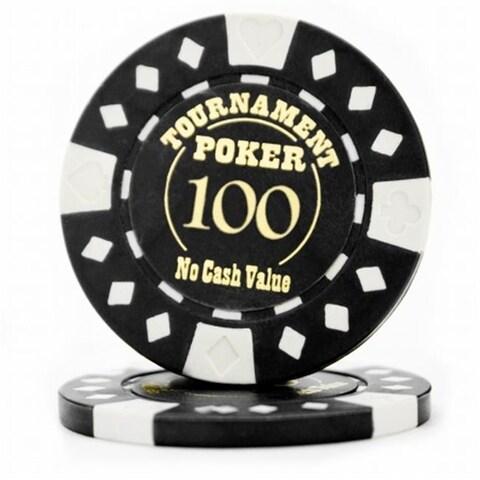 12.5 g Tournament Hot Stamp Poker Chips, Black - Roll of 25