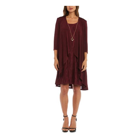 R&M RICHARDS Burgundy Long Sleeve Above The Knee Hi-Lo Dress Size 4P