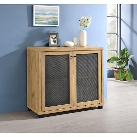 Brayden Golden Oak Accent Cabinet with Mesh Doors