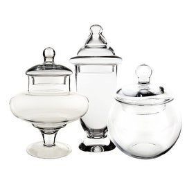 CYS? Apothecary Glass Jar Classic Candy Buffet Containers/Vase with Lid, Set of 3