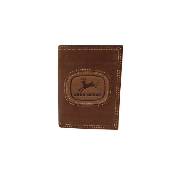 John Deere Western Wallet Mens Leather Trifold Brown - One size