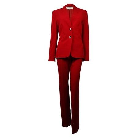 Tahari Women's Norway Nuance Welt Pocket Solid Pant Suit - Red - 8