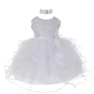 Baby Girls White Organza Rhine studs Bow Sash Flower Girl Dress 6-24M