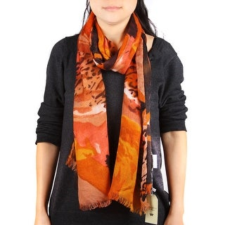 Richie House Women's Orange Wild Print Scarf - Standard