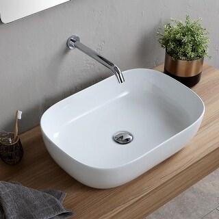 "Nameeks Scarabeo 1804  Scarabeo Glam 23"" Rectangular Ceramic Vessel Bathroom Sink - White / No Hole"