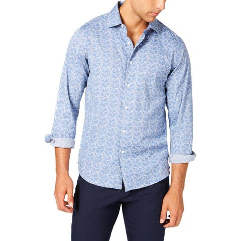 Tallia Mens Button-Down Shirt Paisley Long Sleeves