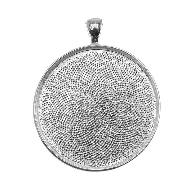 Silver Plated Round Bezel Pendant 38mm - 1 1/2 Inch (1)