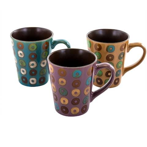 Mr. Coffee Coupa Cafe 3pc 13 Ounce Round Stoneware Mug Set-Assorted
