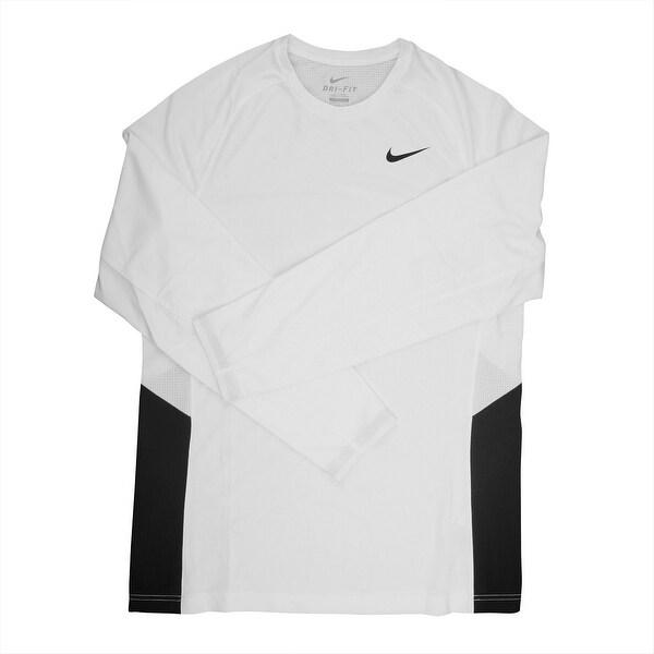 0fd9496b7efec Shop Nike Dri-FIT Men s Long Sleeve White Black Training Shirt - 3X Large -  Free Shipping Today - Overstock - 21293648