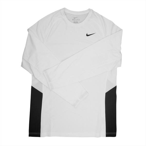 7788c808 Shop Nike Dri-FIT Men's Long Sleeve White/Black Training Shirt - Medium -  Free Shipping Today - Overstock - 21293631