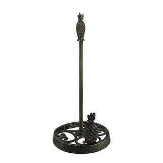 Tropical Pineapples Antique Brass Finish Cast Iron Paper Towel Holder 15 inch - 15 X 7.25 X 7.25 inches