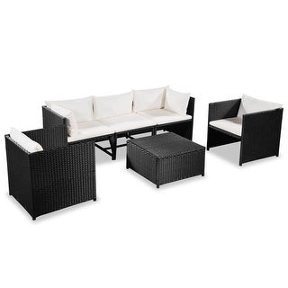 "vidaXL 6 Piece Garden Lounge Set with Cushions Poly Rattan Black - 23.6"" x 23.6"" x 23.6"""