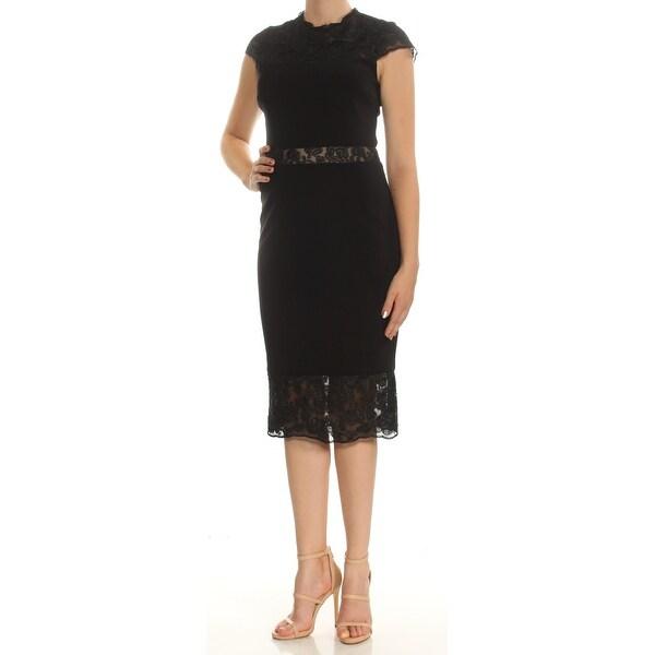 Shop Betsy Adam Womens Black Lace Cap Sleeve Crew Neck Below The