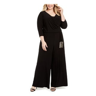 Link to MSK Womens Black Fringed 3/4 Sleeve V Neck Wide Leg Jumpsuit  Size 1X Similar Items in Outfits