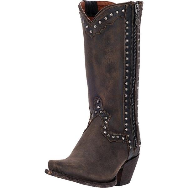 "Dan Post Western Boots Womens 11"" Cowboy Heel Studs Brown"