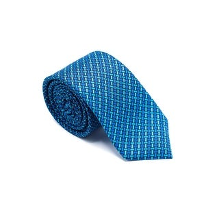 Versace Mens Blue Mini Geometric Print Pure Silk Medusa Ties
