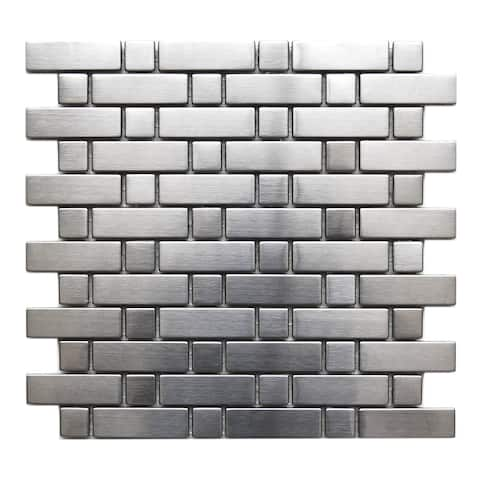 Brick And Square Stainless Steel Tile 10.3x10.3 (11 tiles/8.1 Sqft)