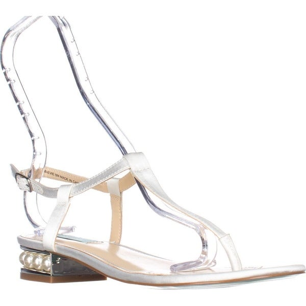 Blue by Betsey Johnson Evie Flat T-Strap Sandals, Ivory Satin