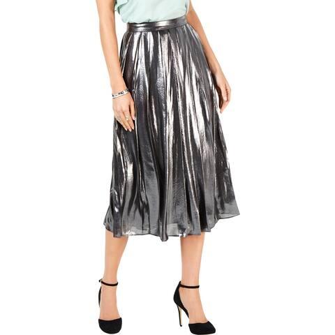 MICHAEL Michael Kors Womens Midi Skirt Foil Metallic
