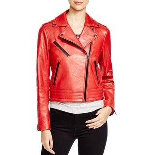 Rag & Bone/JEAN Womens Motorcycle Jacket Lamb Leather Asymmetric