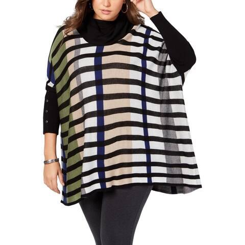 Joseph A. Womens Plus Poncho Sweater Striped Cowl Neck