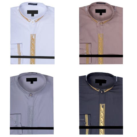 Men's Collarless Banded Collar Dress Shirt with Solid Bordered Embroidery