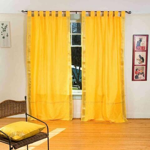 Yellow Tab Top Sheer Sari Curtain / Drape / Panel - Pair