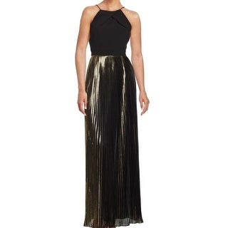 Aidan Mattox NEW Gold Womens Size 2 Colorblock Pleated Metallic Gown