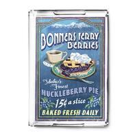 Bonners Ferry, Idaho - Huckleberry Pie Vintage Sign - Lantern Press Artwork (Acrylic Serving Tray)