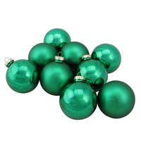 "9-Piece Shiny and Matte Green Glass Ball Christmas Ornament Set 2.5"" (65mm)"
