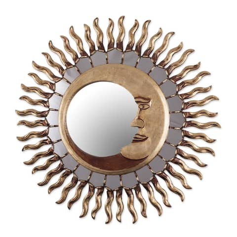 "Handmade Cuzco Eclipse Wood Mirror (Peru) - 7.75 "" W x 7.75"" H"
