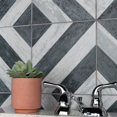 SomerTile Cassis Sete Black 9-3/4 in. x 9-3/4 in. x 11mm Porcelain Floor and Wall Tile