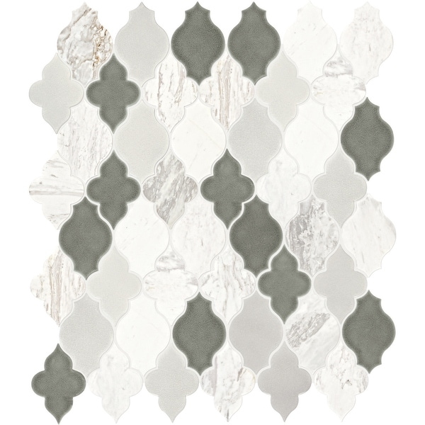 "Daltile BLDARABSQ1P Raine - 13-3/8"" x 11-1/4"" Arabesque Mosaic Ceiling, Floor, and Wall Tile - Polished Marble Visual - Sold by"
