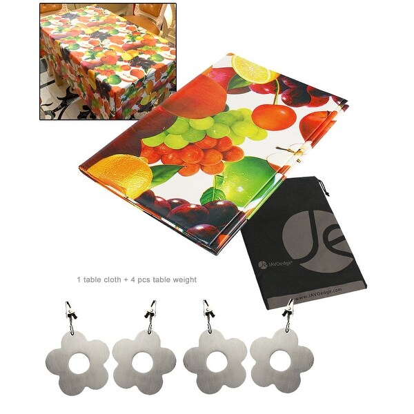 JAVOedge Mixed Fruit Print Water Resistant Table Cloth + Metal Flower Table Weights 4 Pack for Picnic, Outdoor, BBQ