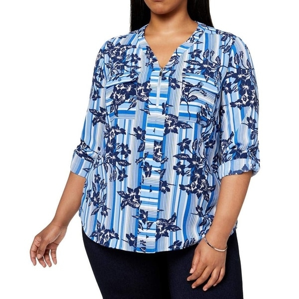 NY Collection Blue Women Size 1X Plus Floral Print Ironstripe Blouse