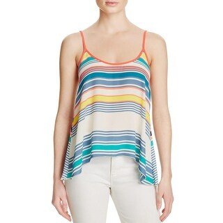 Aqua Womens Tank Top Striped Contrast Trim