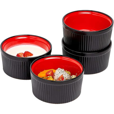 Bruntmor Ceramic 12 Oz. Set of 4 Souffle Dish Oven Safe Ramekins for Desserts Snacks Appetizers Casserole Creme Brulee