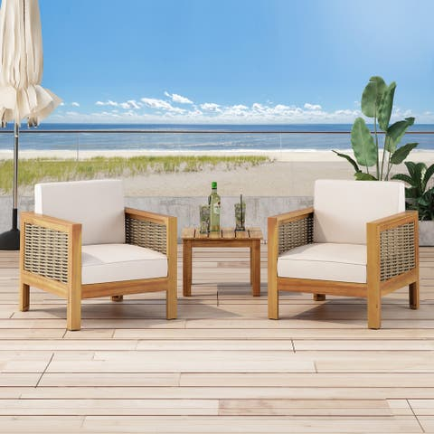 Linwood Outdoor Acacia Wood Club Chair with Wicker Accents (Set of 2) by Christopher Knight Home