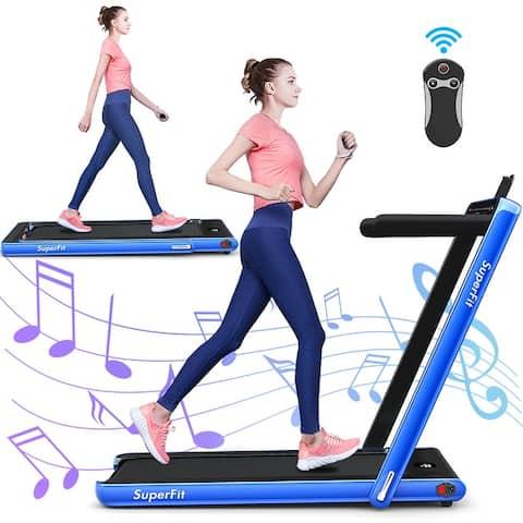 Gymax 2 In 1 Folding Treadmill 2 25Hp Running Machine W/ Dual Display