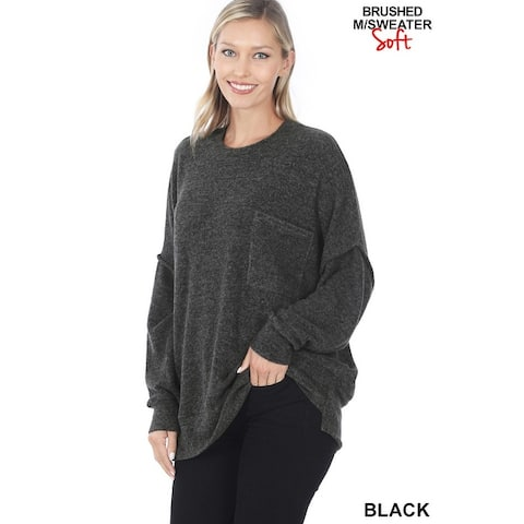 JED Women's Drop Shoulder Oversized Crewneck Tunic Sweater