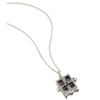 Floriana Women's Opening Bookcase Necklace - Sterling Silver with Enameled Books