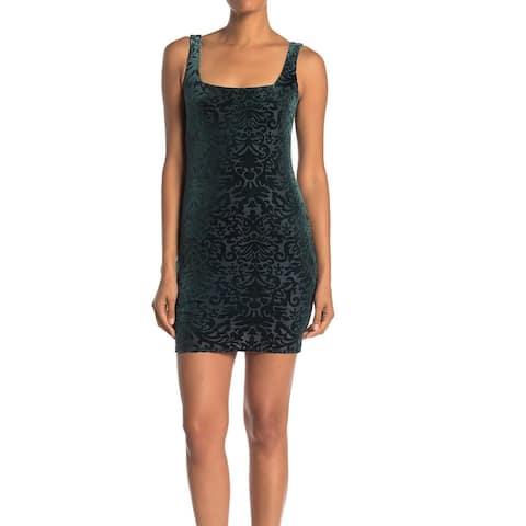 Jump Apparel Sheath Dress Green Size Medium M Junior Velvet Burnout