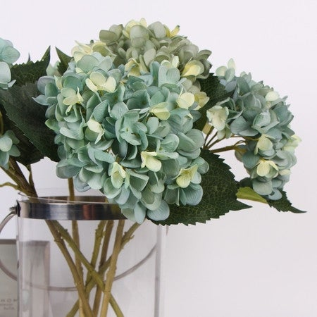 "G Home Collection Luxury Silk Hydrangea Stem in Lake Blue 18"" Tall - turquoise"