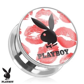 Playboy Bunny Logo on Kiss Mark Print Screw Fit Plug 316L Surgical Steel (Sold Individually)