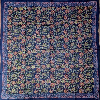 Block Print Cotton Floral Scarf 42 x 42 inches Red, Blue, Green Black - 42 x 42 inches
