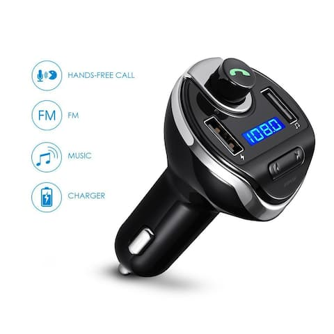 AGPtek Bluetooth Wireless In-Car FM Transmitter Radio Adapter Car Kit Universal Car Charger for iPhone Samsung etc. - SIZE