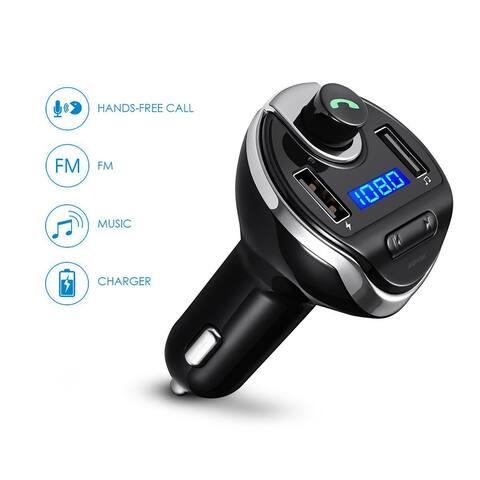 AGPtek Bluetooth FM Transmitter USB Car Charger for iPhone Samsung etc.